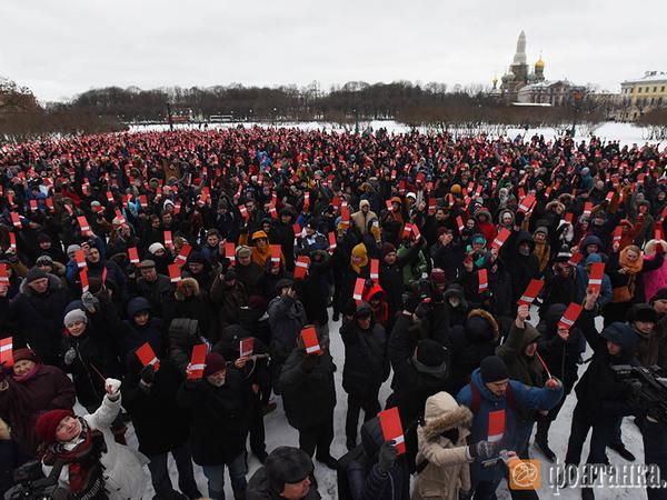 НаМарсовом поле собирают подписи завыдвижение Навального впрезиденты
