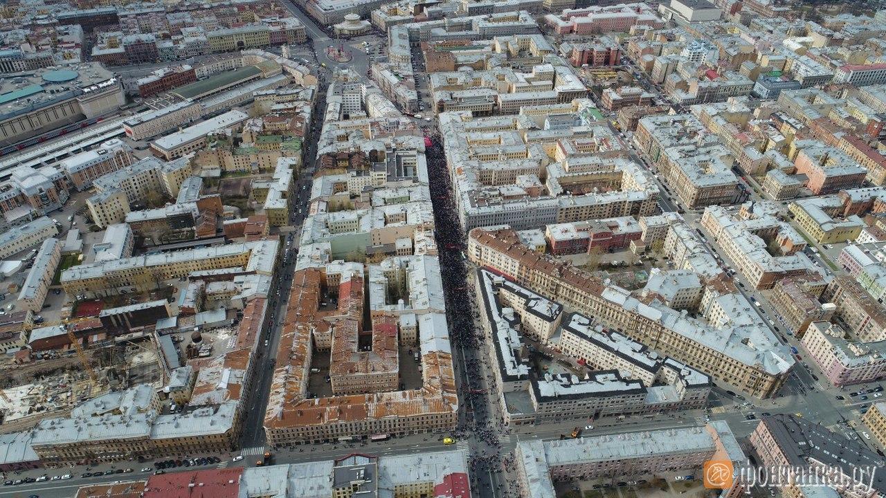 Шествие Бессмертного полка в Санкт-Петербурге в 2017 году: вид с воздуха
