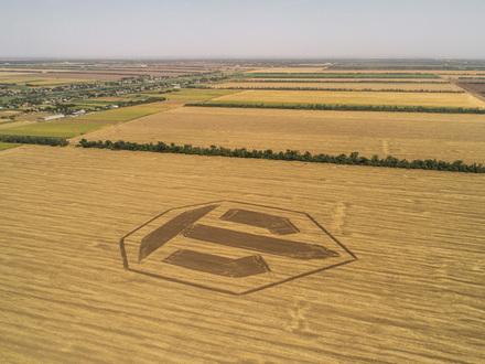 Двухсотметровый логотип игры World of Tanks появился на поле под Краснодаром
