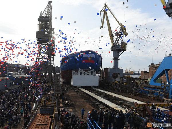 Балтийский завод спустил наводу атомный ледокол «Сибирь»