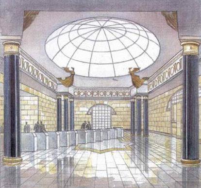 Архитектурный проект наземного вестибюля. Опубликован блогером Бегемотом на интернет-форуме, посвященном развитию Петербурга.