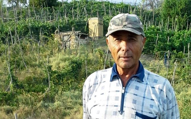 """Николай Петрович Лукьянов, """"виноградных дел мастер"""", у себя на винограднике"""
