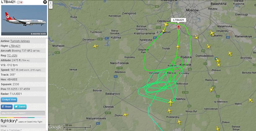 Траектория полета турецкого самолета при заходе во Внуково 15 мая