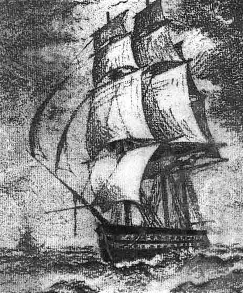 """Корабль """"Лефорт"""". С картины современника"""