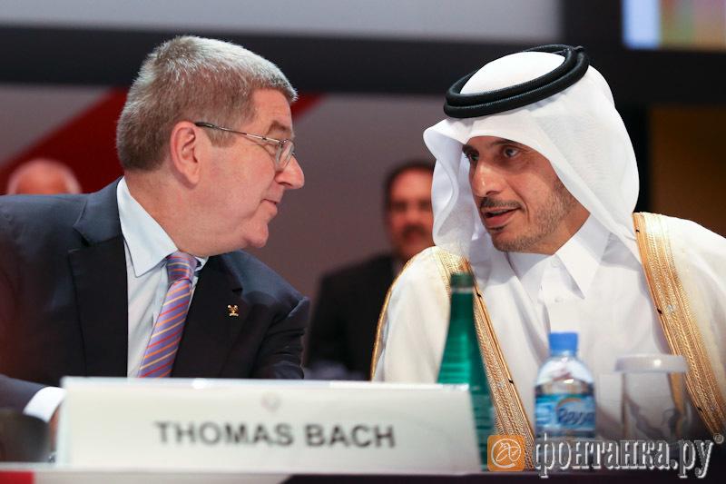 Президент МОК Томас Бах и премьер-министр Катара Шейх Хамад бин Джабер Аль Тани