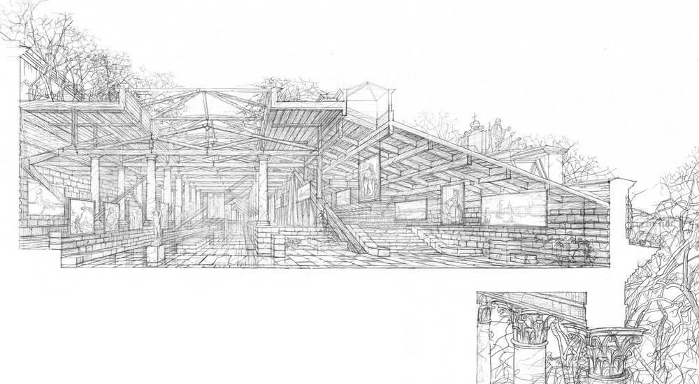 Перспективный разрез по экспозиционным залам мансардного этажа