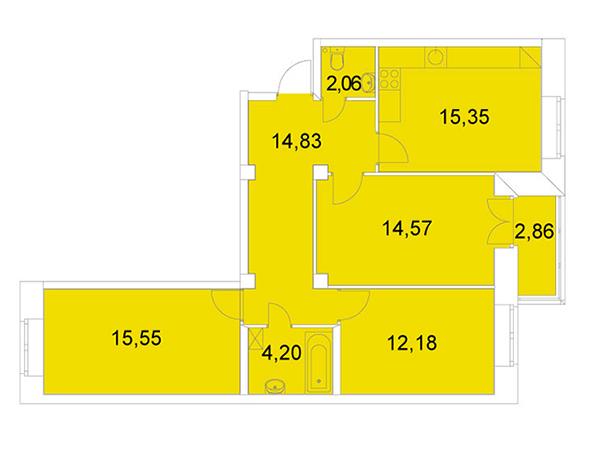 Пример планировки классической трехкомнатной квартиры в ЖК NEWПИТЕР площадью 80 кв. метров