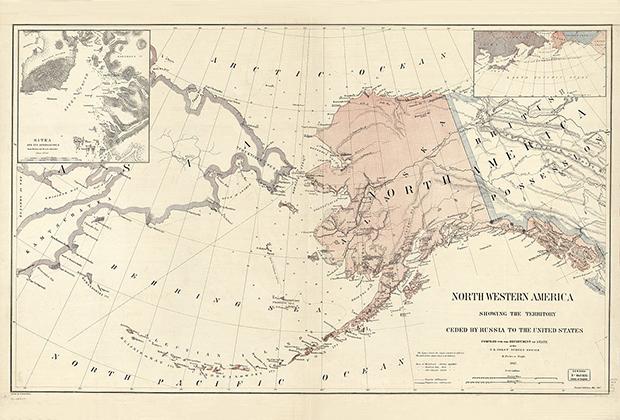Карта территорий Северо-Западной Америки, переданных Российской империей Северо-Американским Соединенным Штатам в 1867 году