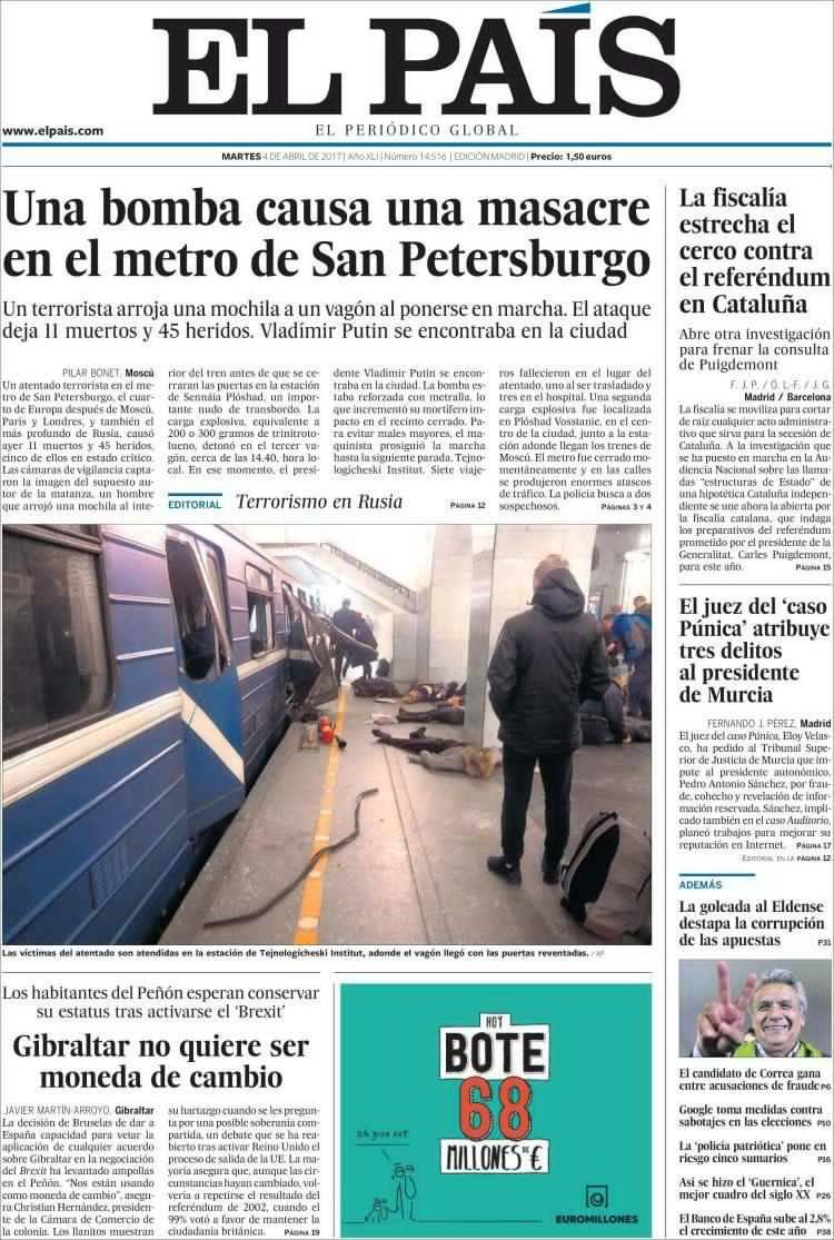 El Pais: «Бомба устроила кровавое месиво в метро Санкт-Петербурга»