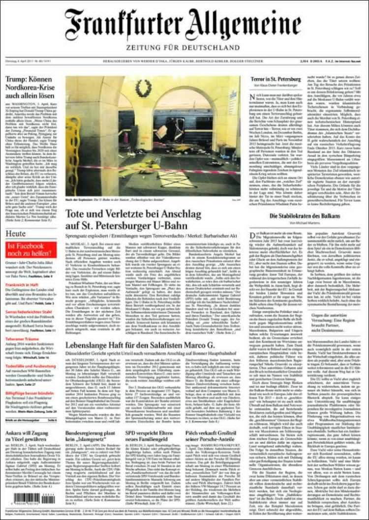 Frankfurter Allgemeine: Убитые и раненые при крушении в метро Санкт-Петербурга