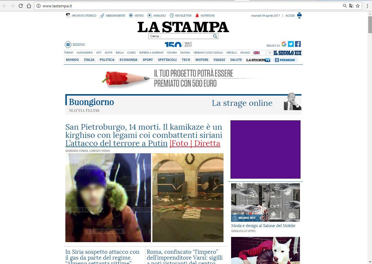 La Stampa: Санкт-Петербург, 14 мертвы. Смертник — киргиз, имеющий связи с сирийскими боевиками. Террористическая атака против Путина