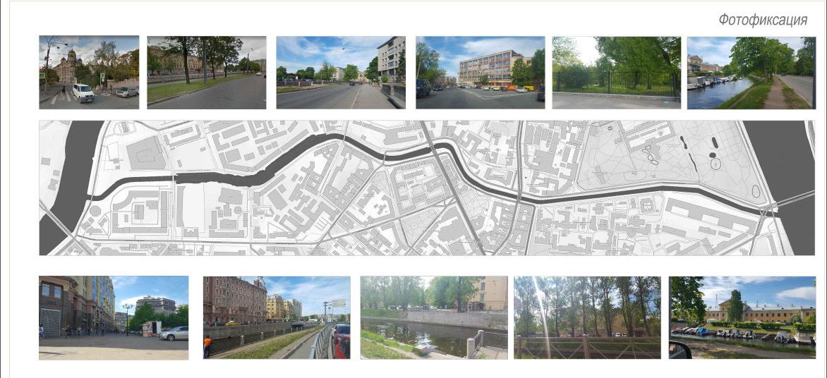 Фотофиксация нынешнего состояния прибрежной полосы Карповки//Проект организации общественного пространства