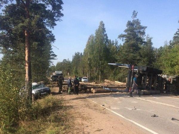 Упавший после ДТП лесовоз с брёвнами закрыл дорогу у Каменки
