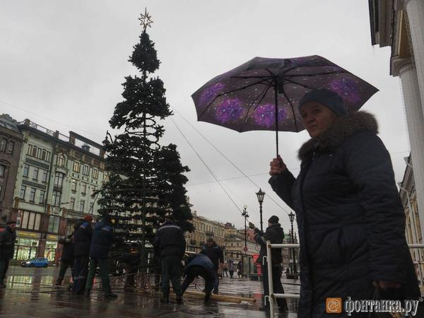 На Невском выставили скелет ёлки. Включить новогоднее настроение мешает дождь