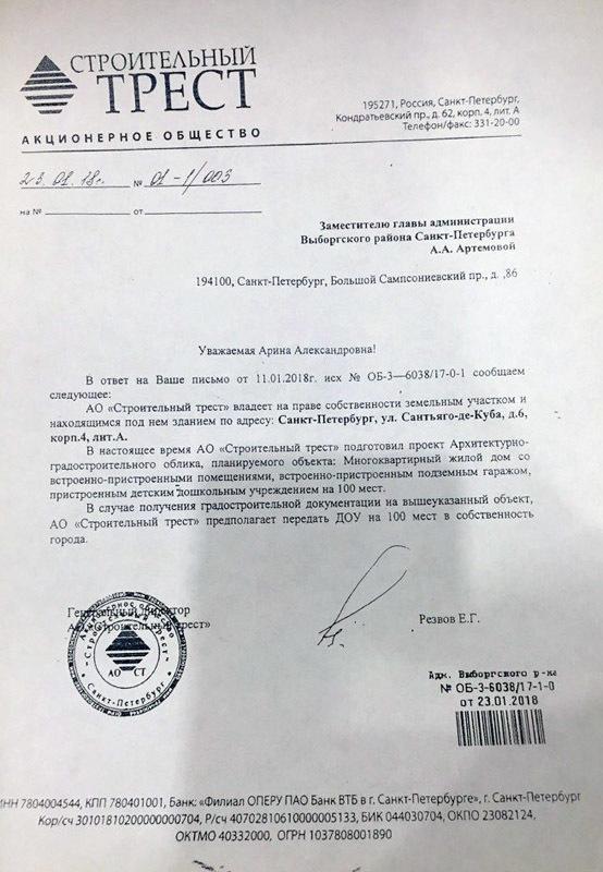 Предоставлено жителями Выборгского района Санкт-Петербурга