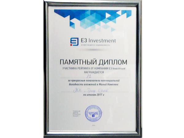 ЖК «Граф Орлов» вошел в ТОП-20 комплексов по инвестиционной привлекательности