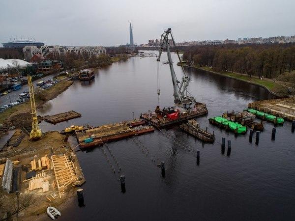 Как выглядит ремонтируемый Елагин мост