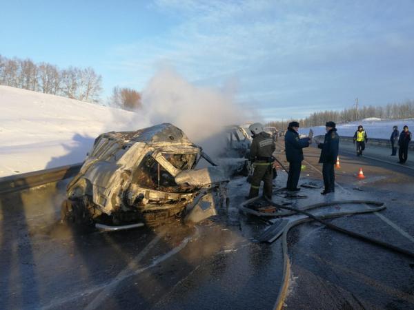 Три легковушки сгорели в ДТП под Воронежем. В них погибли семь человек