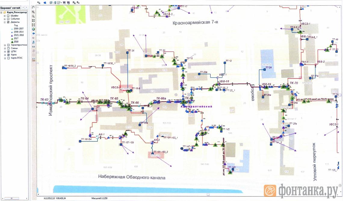 В 2018 году на участок изношенной трубы между Измайловским и Московским проспектами прорывало около пятидесяти раз. Места прорывов, в том числе у Измайловского, 20 отмечены зелеными треугольниками.