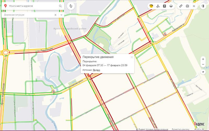 Пробки в Красногвардейском районе по данным на 9:45 4 февраля. Кликните для перехода в интерактивную карту ГАТИ.